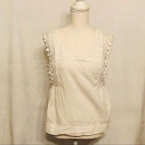 Anthropologie Odille cotton linen crochet tank top